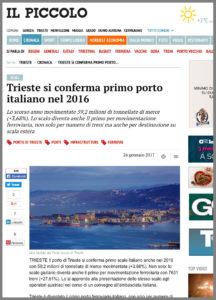 Il Piccolo parla del Porto di Trieste