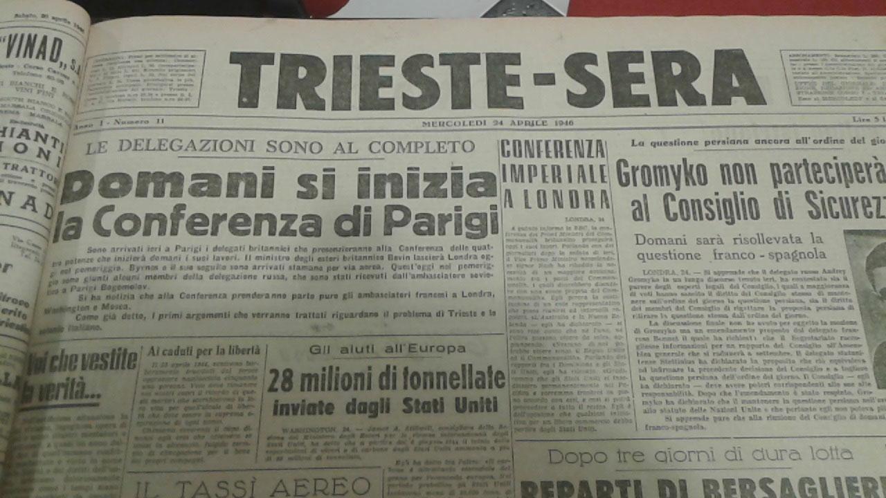 Trieste Sera inizio Conferenza di Parigi