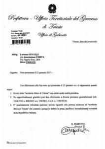 risposta Prefettura caso Gentile