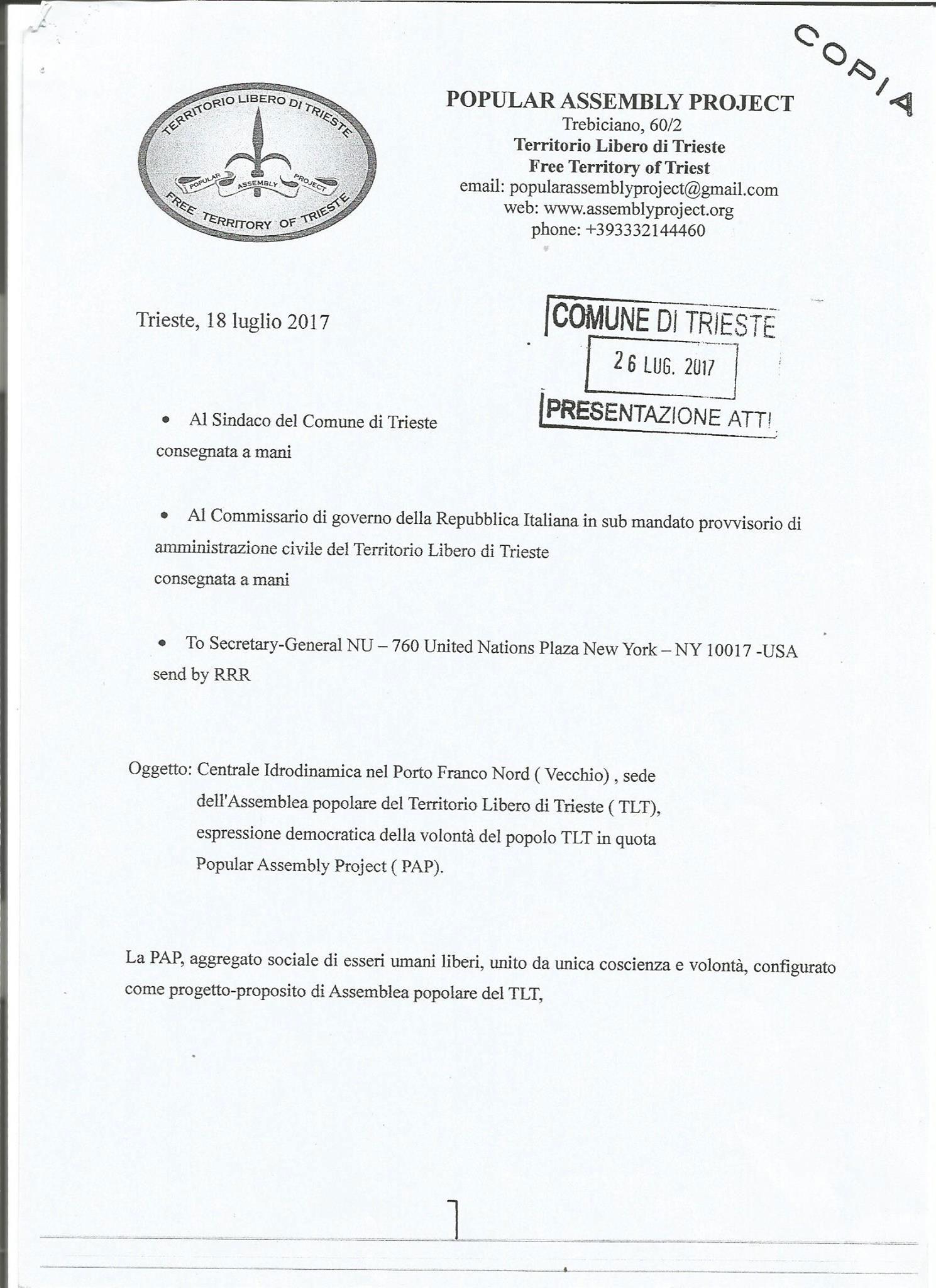 lettera richiesta sede Assemblea Popolare in Porto Vecchio a Trieste
