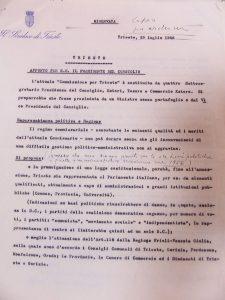Commissione per Trieste appunto per il Presidente del Consiglio