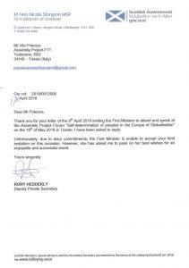 lettera Primo Ministro scozzese Scozia